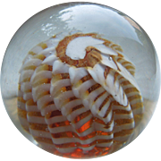 Vintage Murano Glass Paperweight With Nautilus Shell Design