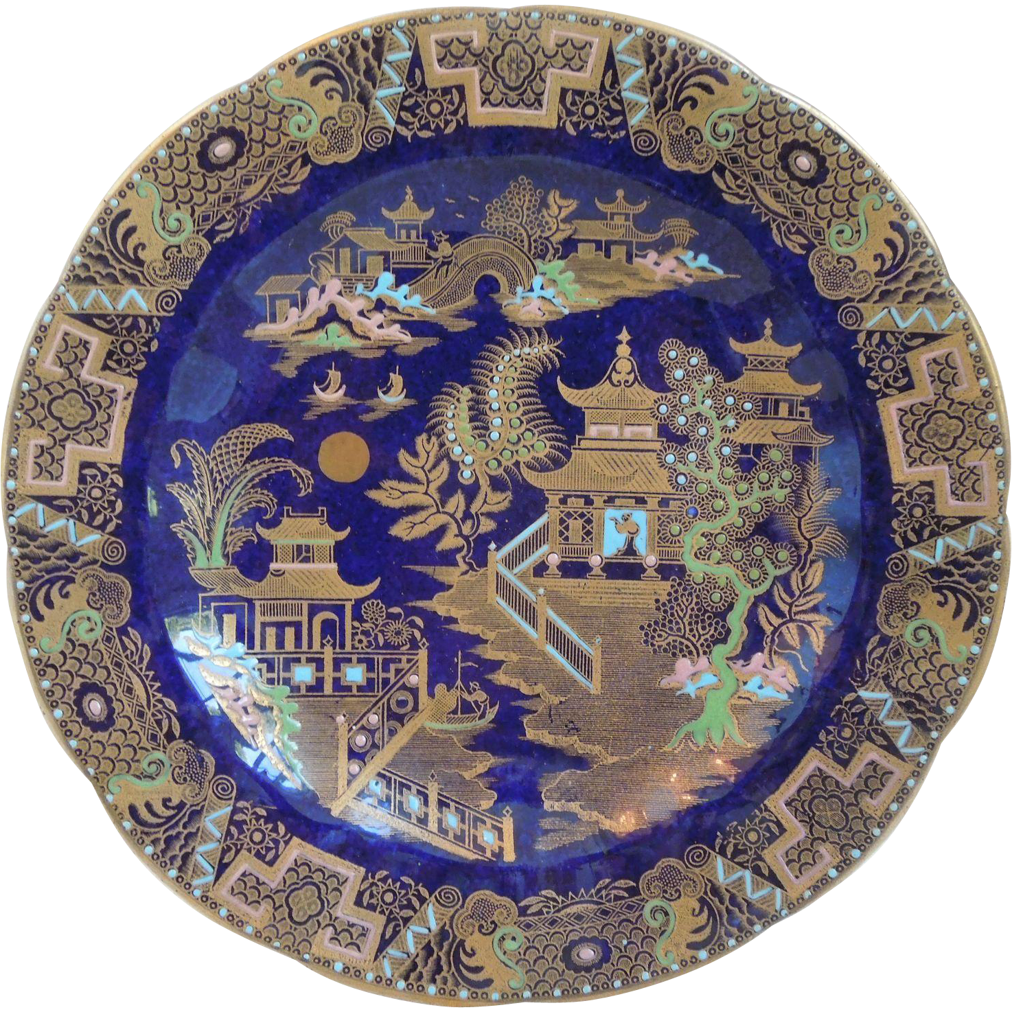Carlton Ware Porcelain Chinoiserie Blue Plate With Asian