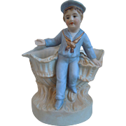 Victorian Bisque Hand Painted Figural Vase With Sailor Boy, Nautical, Shell Motif