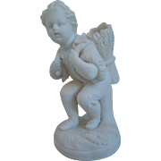 19th Century Parian Bisque Figure Of A Young Boy With A Basket, Match Holder, Striker