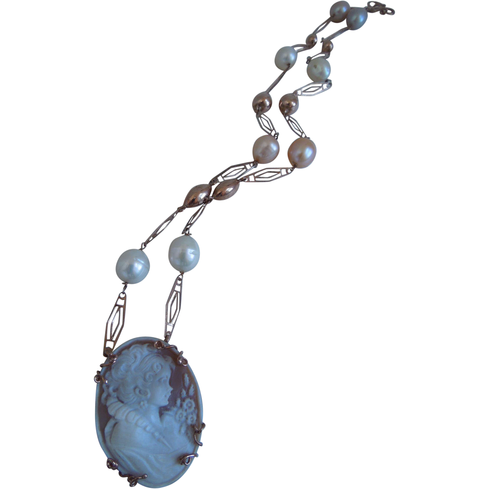 Vintage Sterling Carved Shell Cameo Pendant Necklace With Fresh Water Pearls