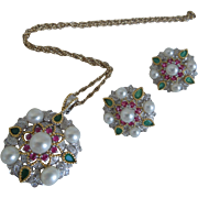 Indian Mogul Style Sterling Necklace & Earring Set With Rubies, Emeralds, Diamonds & Cultured Pearls