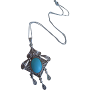 Vintage Filigree Silver Persian Turquoise Necklace And Pendant