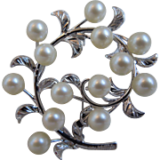 Vintage Japanese Silver Brooch With 13 Cultured Pearls, 1950's