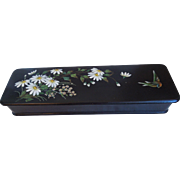 Antique Japanese Hand Painted Lacquer Box With A Bird, Foilage and Flowers, Circa 1910