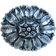 Vintage Sterling Floral Sculptural Design Brooch, Pin, 1930's