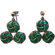Vintage Scandinavian Sterling And Green Enamel Earrings