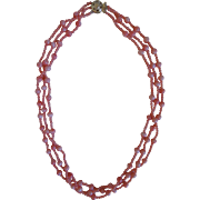 Vintage Angel Skin Triple Strand Natural Coral Necklace, 14K Clasp