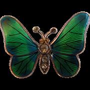 19th Century Art Nouveau Sterling Enamel Guilloche Paste Butterfly Brooch/Pin