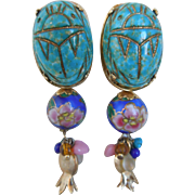 Vintage Enamel GAS Bijoux St. Tropez Clip Dangle Earrings, Egyptian Scarab Motif, Signed, 1980's