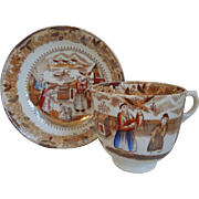 Early 19th Century Chinoiserie Brown Transfer Ware Copper Luster Porcelain Cup And Saucer With Asian Scene