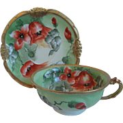 19th Century Limoges Porcelain Cup, Saucer, Hand Painted Poppies, Gilded, Mavaleix, Coronet, Artist Signed Barbol