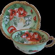 Antique Limoges Porcelain Cup, Saucer, Hand Painted Poppies, Mavaleix, Coronet, Artist Signed, Barbol