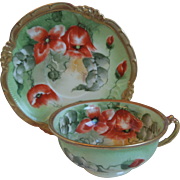 19th Century Limoges Porcelain Cup, Saucer, Hand Painted Poppies, Mavaleix, Coronet, Artist Signed, Barbol