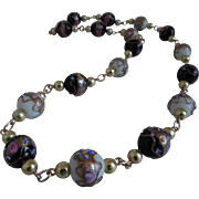 Vintage Venetian Murano Glass Wedding Cake Bead Necklace