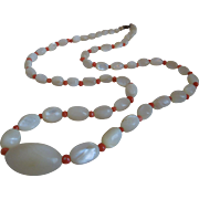 Vintage Edwardian Mother Of Pearl And Coral Necklace