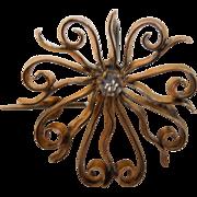 19th Century Victorian Sunburst, Watch Fob, Brooch, Pin