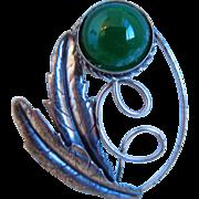 Vintage Sterling Chrysoprase Flower Brooch, Pin
