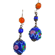 Vintage Murano Glass Wedding Cake Earrings