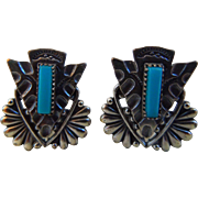 Vintage Sterling & Turquoise Native American, Zuni, Needle Point Earrings, Screw Back Findings