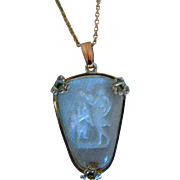 Vintage Neo-Classical Carved Intaglio, Rock Crystal, GF, Venus And Cupid Necklace With Pendant