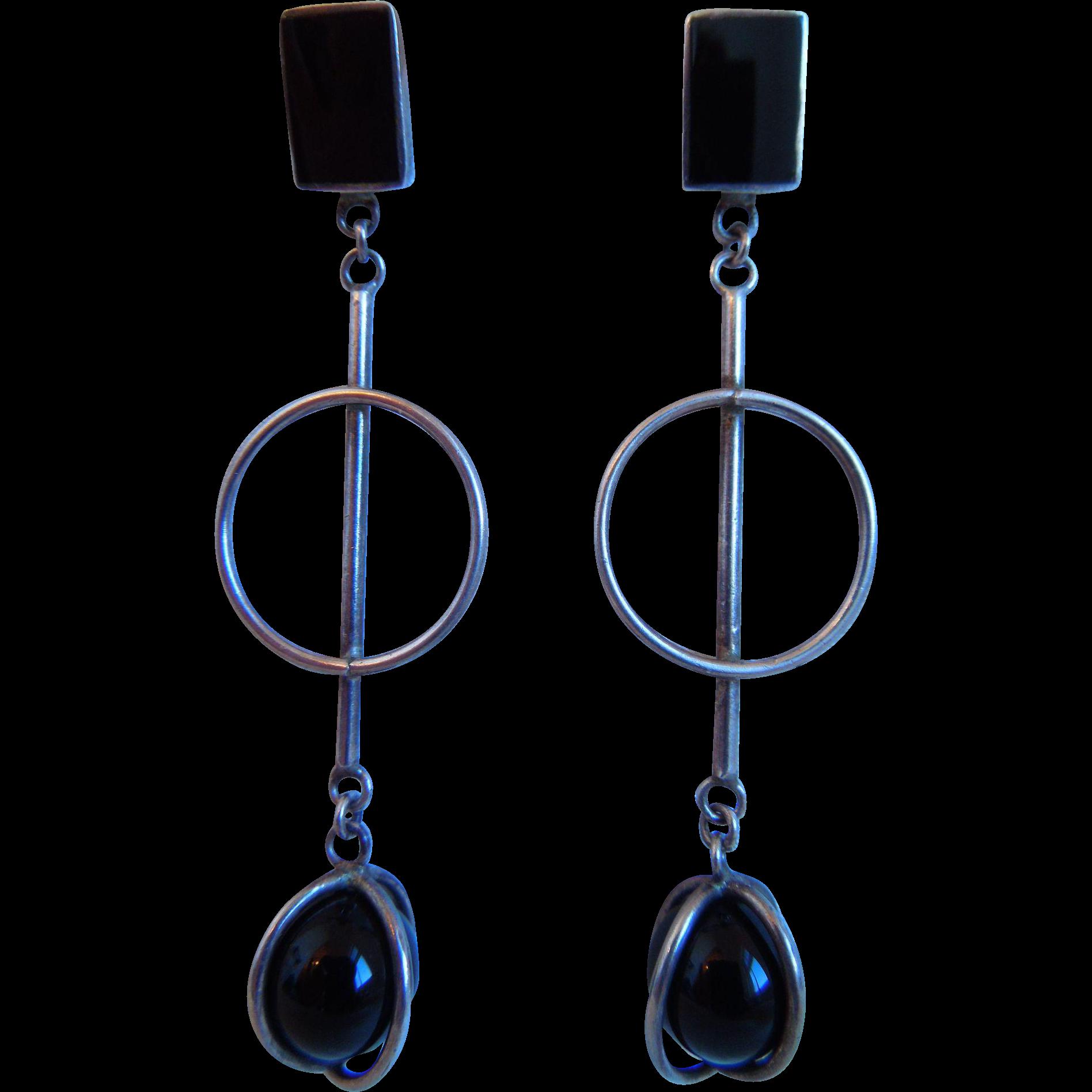 Vintage Long Sterling Silver And Black Onyx Modernist Pierced Earrings, 925