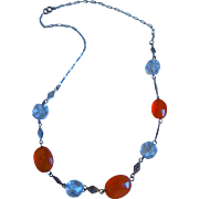 Edwardian Sterling Silver, Carnelian And Crystal Necklace