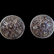 Vintage Sterling Silver German Filigree Pierced Earrings, Signed