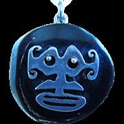 Vintage Sterling Silver, Black Coral Tribal Pendant