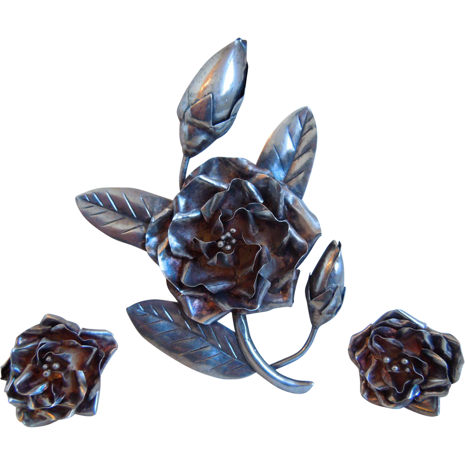 Vintage Large Sterling Silver, Brooch Pin And Earrings Set With Roses, Taxco, Mexico, Signed HOD, Screw back, 1950's