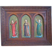 19th Century Chromolithograph Triptych Of Florentine Angels With Hand Carved Gothic Frame