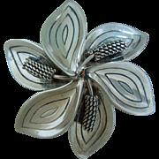 Vintage AK Denmark, Sterling Silver, Modernist, Floral Brooch, Pin