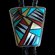 Vintage Native American Zuni Bolo Tie, Sterling Silver, Bennett