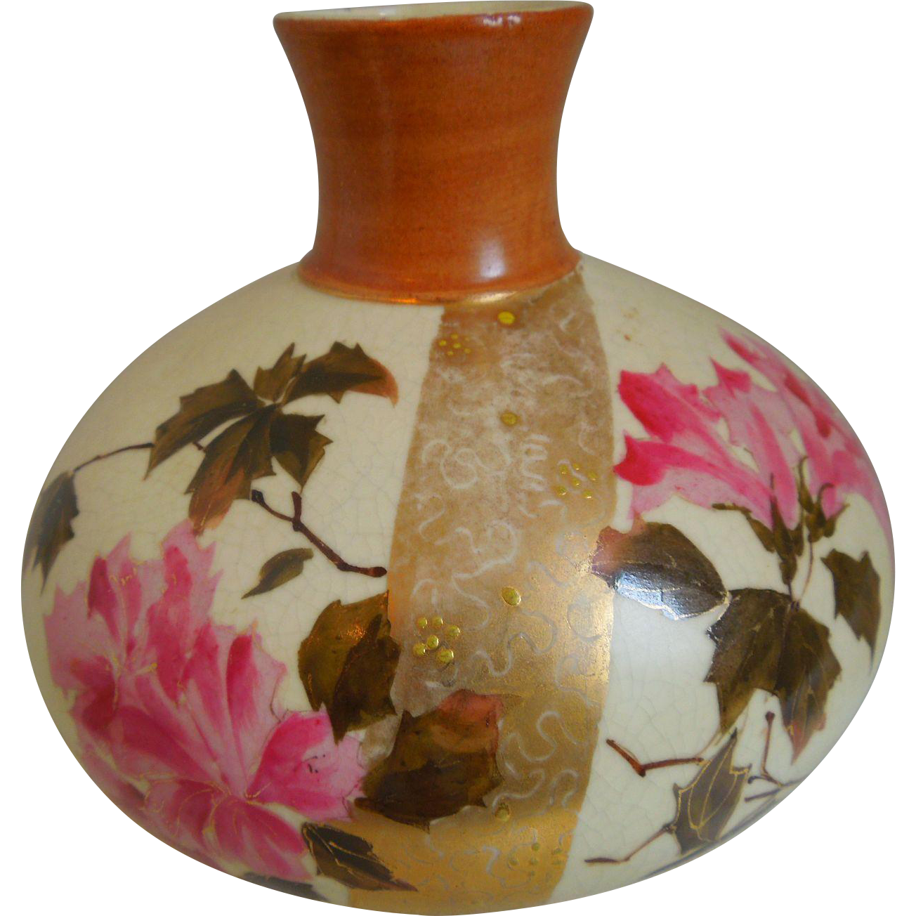 19th Century Art Nouveau, A. Stellmacher, Turn Teplitz, Aesthetic Movement, Hand Painted, Porcelain Vase With Flowers