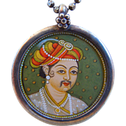 Vintage Sterling Necklace With A Hand Painted Indian Raj Miniature Portrait Pendant