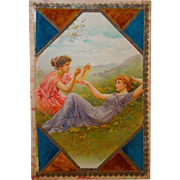 19th Century Men's Hankerchief Advertising Box With Charming Young Women Dated 1896