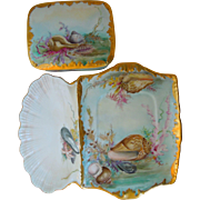 Antique Limoges Tressemann & Vogt, T&V, Hand Painted Porcelain Sardine Box And Tray With Seashell Motif, Gold Gilt