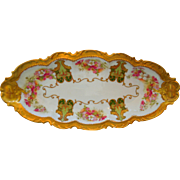 Coronet Limoges Porcelain Floral Tray, Gold Gilt, Early 1900's