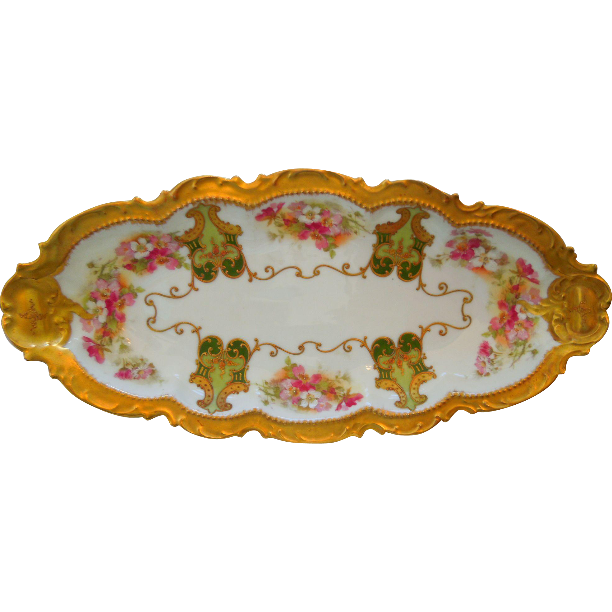 Coronet Limoges Porcelain Floral Tray Gold Gilt Early