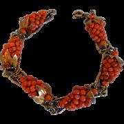 Vintage Italian Natural Salmon Coral Cluster Grapes, 800 Silver, Gilt, Bracelet