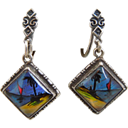 Vintage Art Deco Thomas L. Mott Sterling Blue Butterfly Wing Earrings, Screwback, 1920's, 1930's