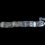 Vintage Sterling Silver Leaf Square Panel Bracelet, 1940's