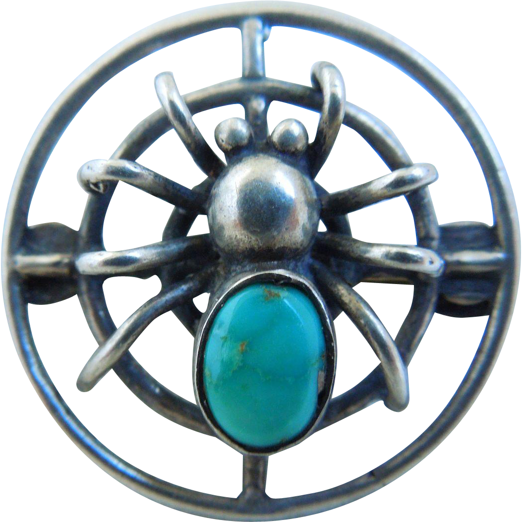 Vintage Native American Sterling & Turquoise Spider Web Brooch, Pin