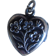 Victorian Sterling Repousse Puffy Heart Flower Design Locket or Charm