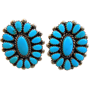 Vintage Native American Navajo Turquoise Sterling Pierced Earrings, Signed