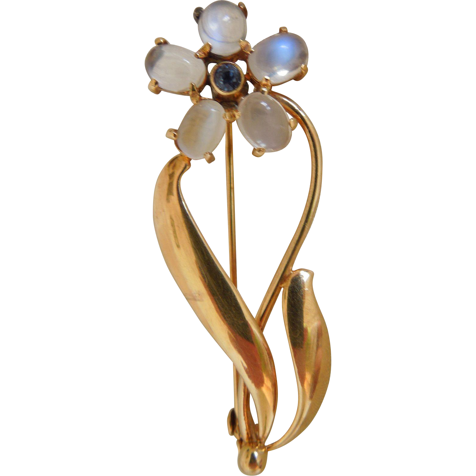 Vintage Tiffany & Co. Flower Brooch/Pin With Blue Sapphire And Moonstones, 14K Yellow Gold