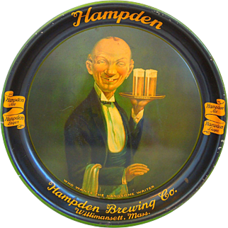 """Vintage Hampden Brewing Co. """"Who Wants The Handsome Waiter"""" Tray Dated 1934"""