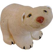 Antique Hand Painted Chalkware Polar Bear Figure, Artist Signed, Circa 1900