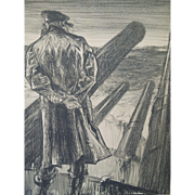 "Lithograph entitled , Making Sailors: ""The Lookout"" By Artist Frank Brangwyn, England, Circa 1917"