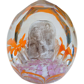 Antique Large Czech/Bohemian Faceted Glass Paperweight With Photo Of Hunters, Circa 1910